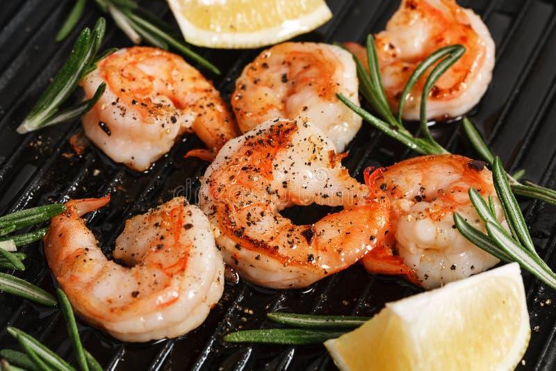 Grilled tiger shrimps royalty free stock image