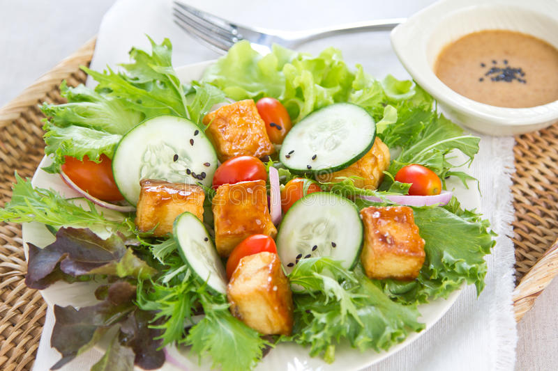 Grilled Tofu salad with sesame dressing stock image