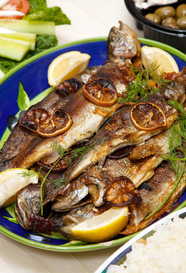 Grilled trout royalty free stock photos