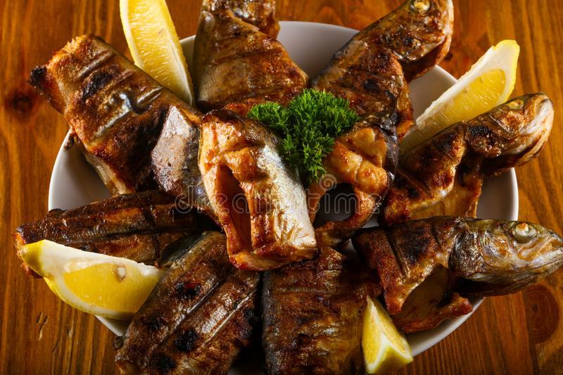 Grilled trout royalty free stock photography
