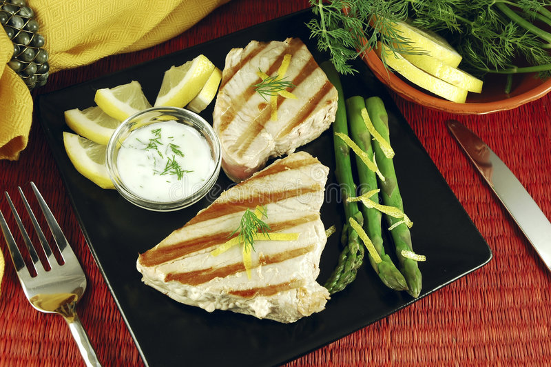 Grilled Tuna Steak royalty free stock photo