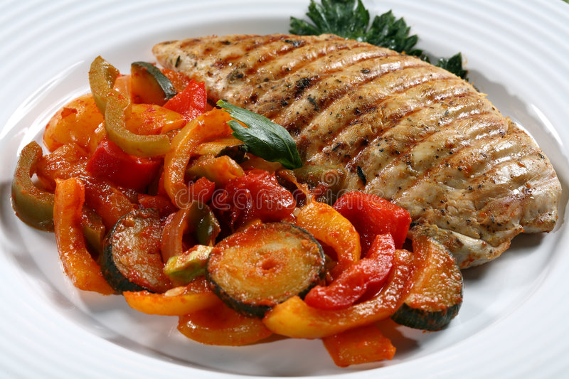 Grilled turkey fillet royalty free stock photo