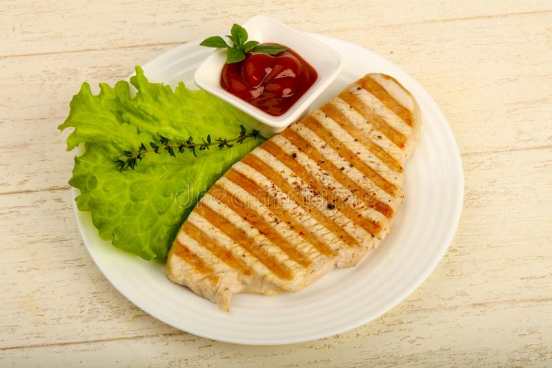 Grilled turkey steak. With spices and sauce stock photo