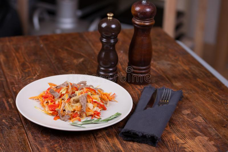 Meat with vegetables royalty free stock image