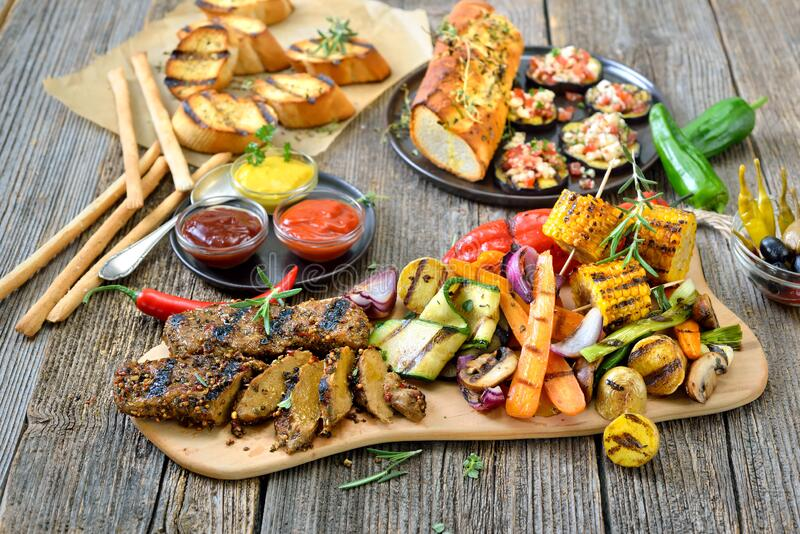Vegan grill meal stock photography