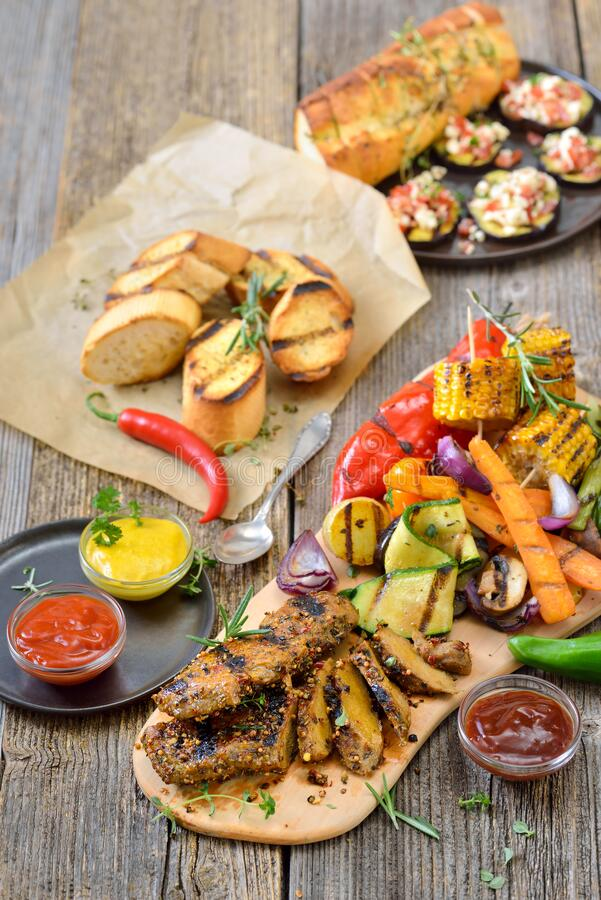 Vegetarian grill meal with seitan stock image