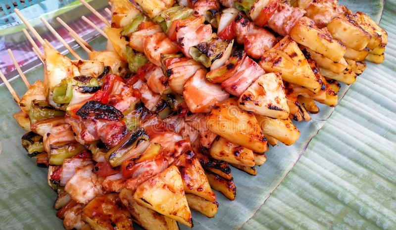 Grilled vegetable and meat skewers BBQ Grilled royalty free stock image