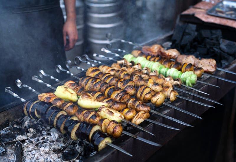 Grilled vegetables barbecue skewers vegetarian picnic food shish kebab royalty free stock photo