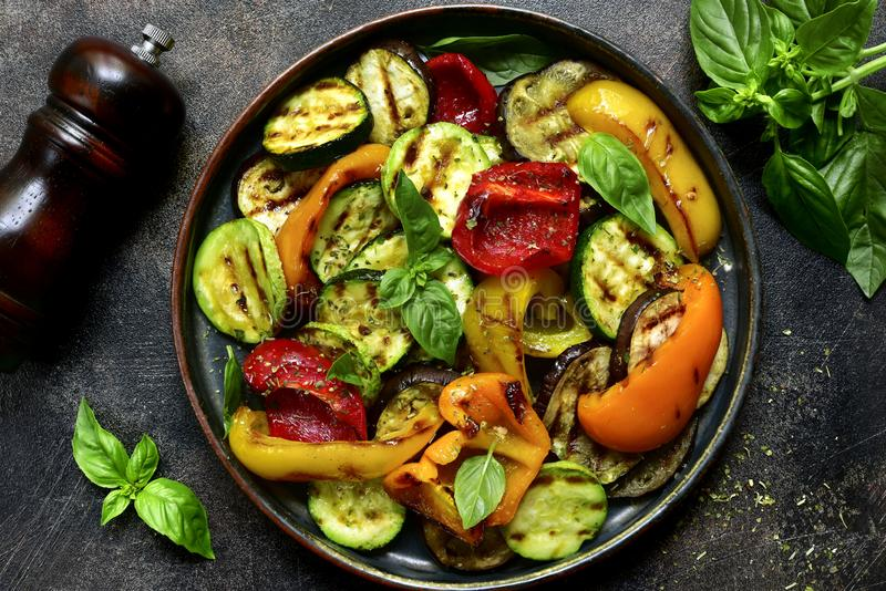 Grilled vegetables colorful bell pepper, zucchini, eggplant royalty free stock photography