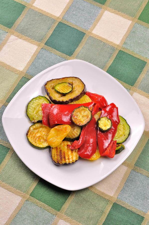 Grilled vegetables on dining table