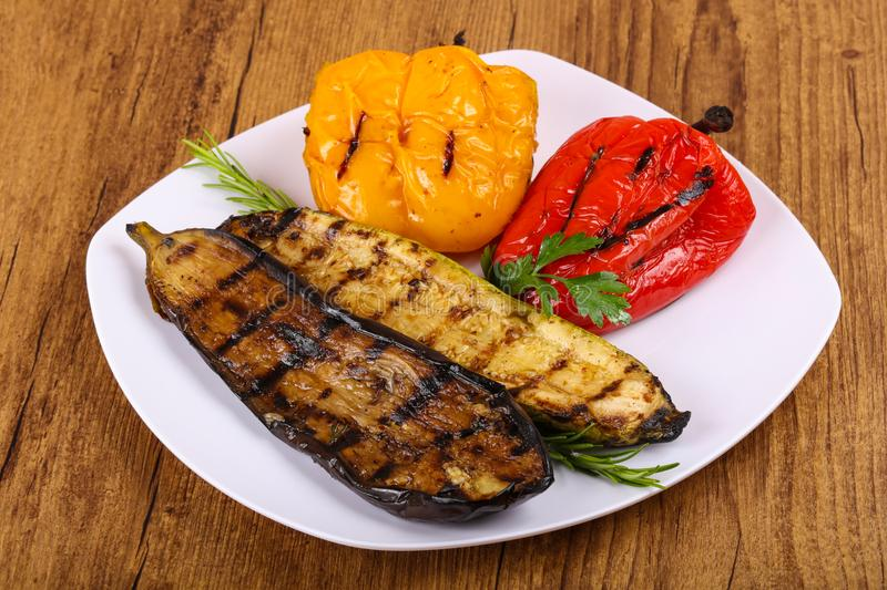 Grilled vegetables - eggplant, zucchini and pepper stock photo