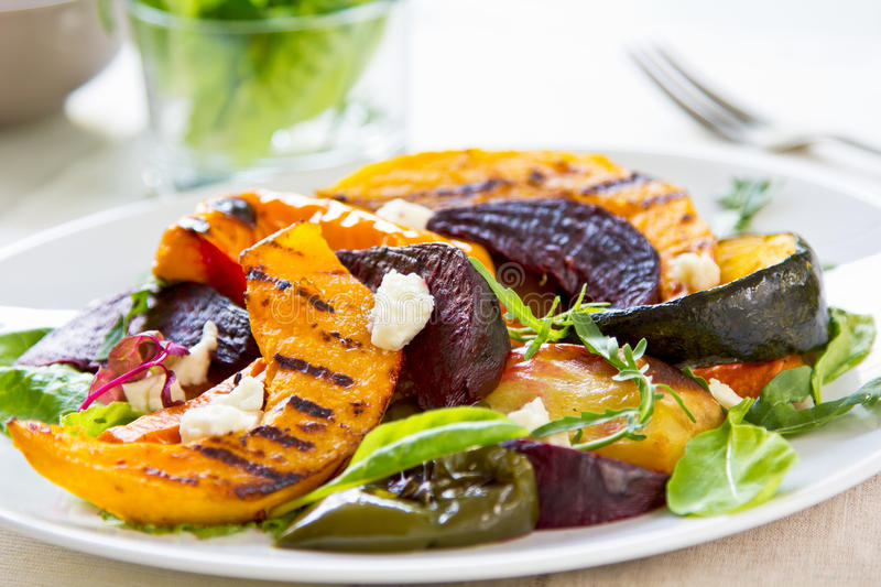 Grilled vegetables with feta cheese salad royalty free stock images