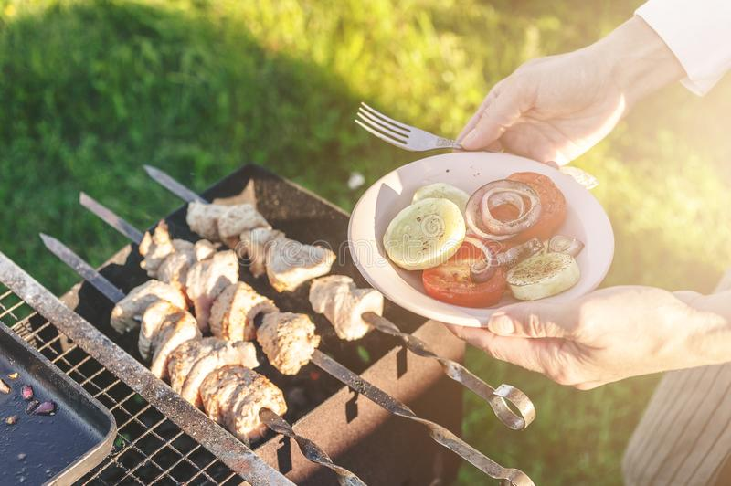 Grilled vegetables, meat on skewers. Barbecue party in the backyard garden. Horizontal shot stock image