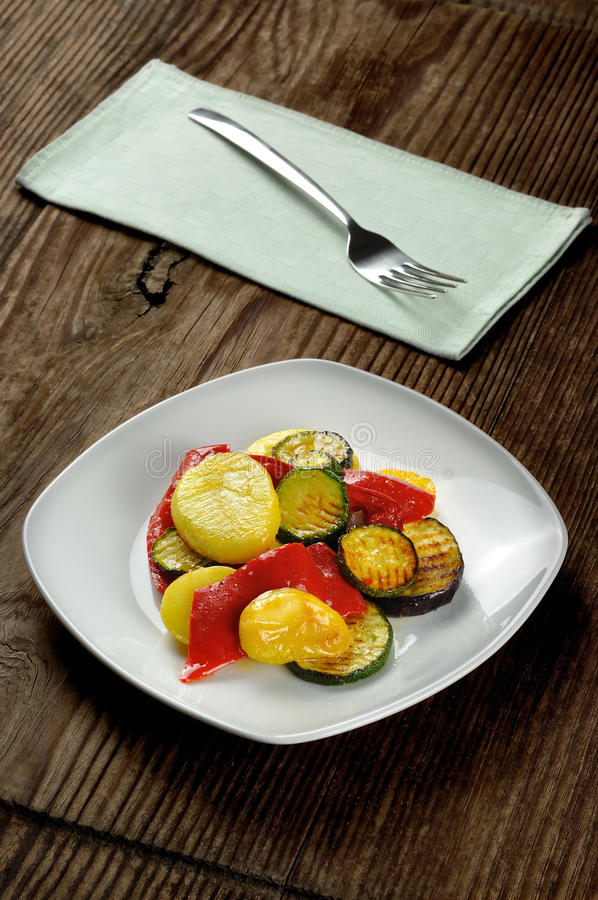 Download Grilled Vegetables On A Old Wooden Table Stock Photo - Image: 28268592