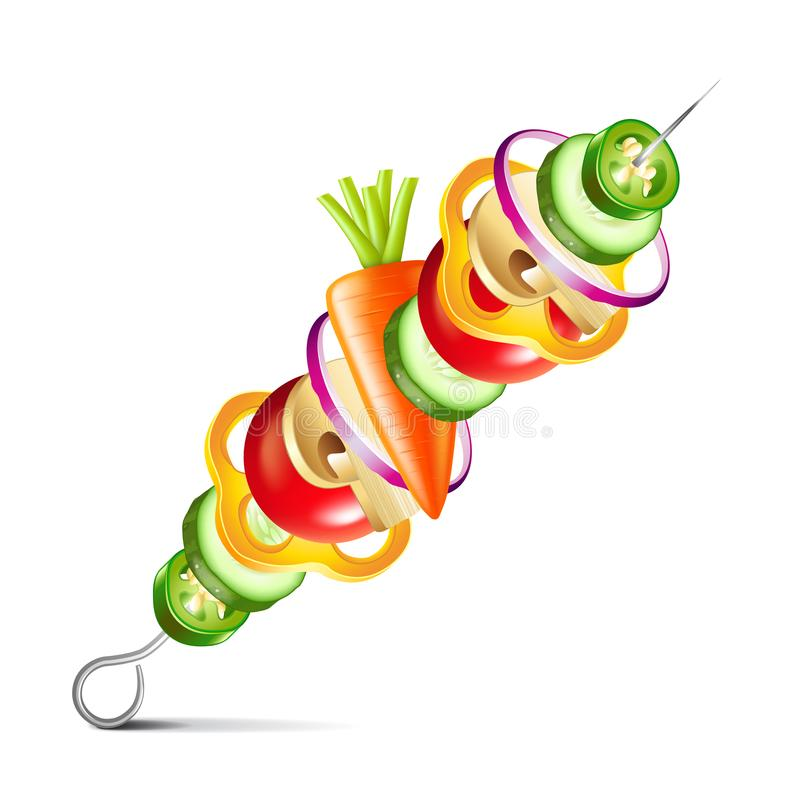 Grilled vegetables vegan kebab isolated vector. Grilled vegetables vegan kebab isolated on white photo-realistic vector illustration stock illustration