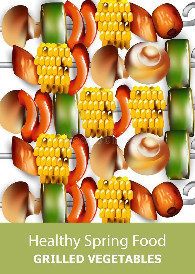 Grilled vegetables vegan kebab Vector. Healthy food vegetarian styles vector illustration