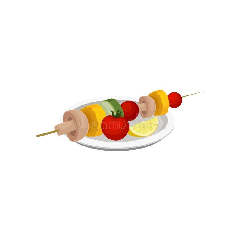 Grilled vegetables, vegan kebab, vegetarian food vector Illustration on a white background vector illustration