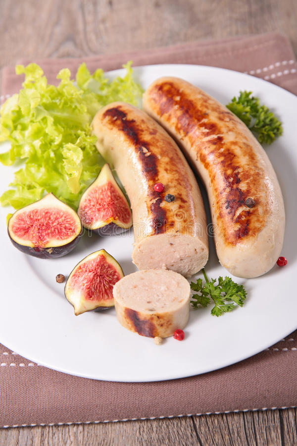 grilled white sausage royalty free stock photos