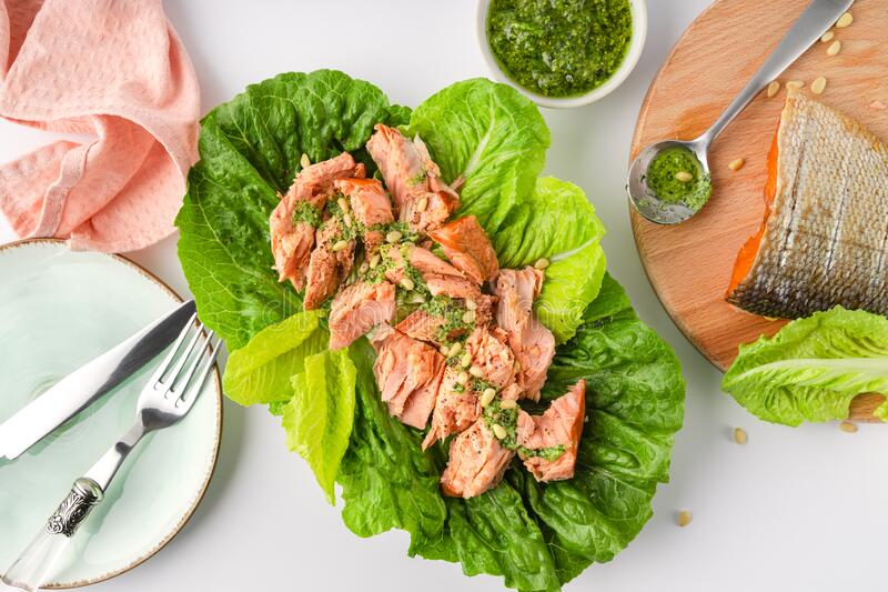 Grilled wild salmon and lettuce dish with green pesto, top view. Grilled wild salmon and lettuce dish with green pesto, closeup view. Horizontal image, fish stock image