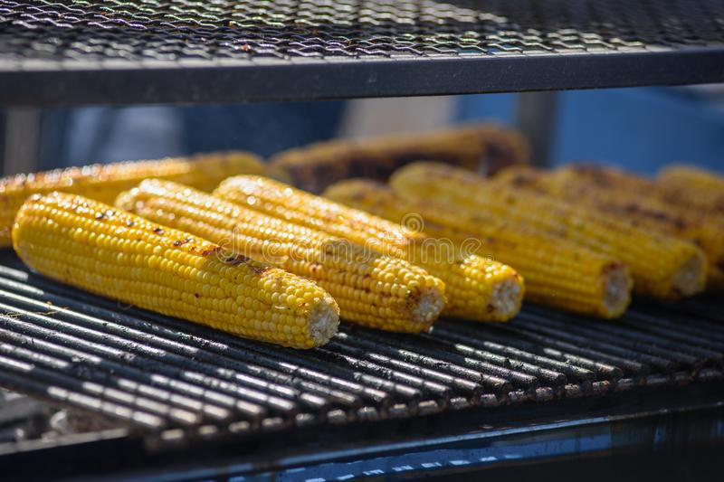 Grilled yellow corns stock image