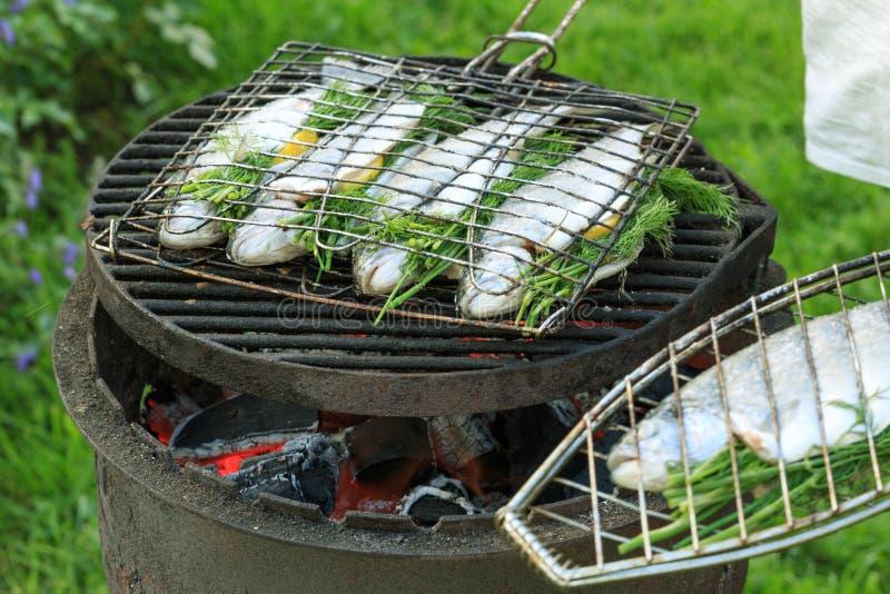 Grillen der Fische auf Lagerfeuer Der Prozess des Grillens der Forelle stockfotos