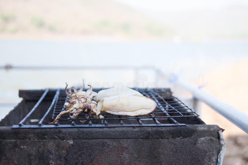 Grillen frischen weißen Kalmars zwei auf heißem Ofen dieses Bild für Lebensmittel lizenzfreies stockfoto