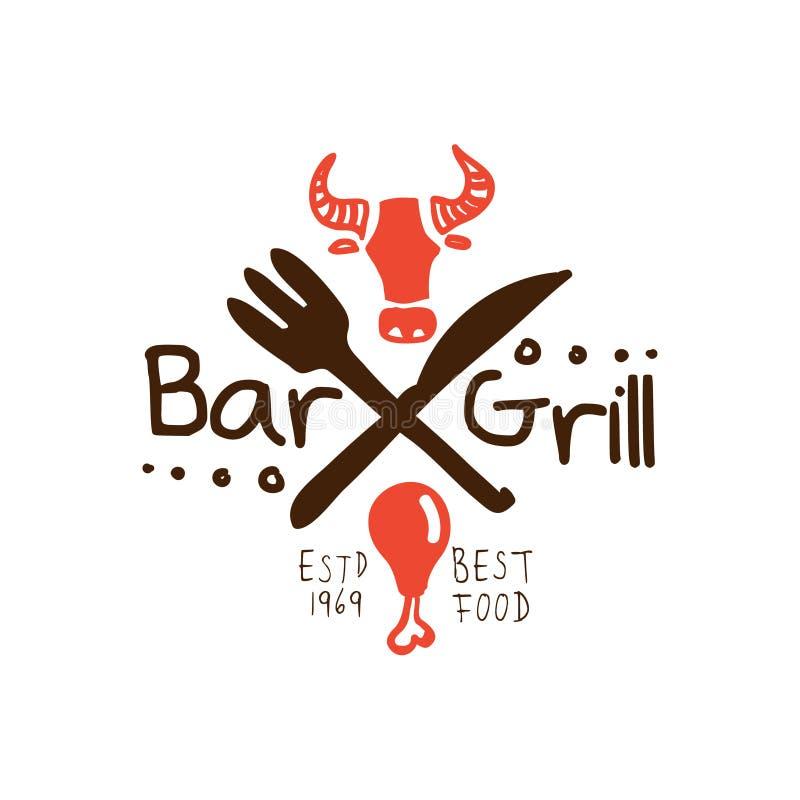 Grillen Sie Bar, beste Lebensmittel estd gezeichnete bunte Illustration 1969 Vektor der Logoschablone Hand vektor abbildung