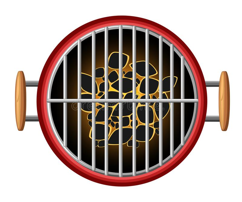 Grillen Sie bbq-Picknick Kohlen der Draufsicht des Gestaltungselementgrills brennendes, welches die Gerätillustration kocht, die  lizenzfreie abbildung