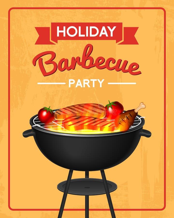 Grillen Sie den Grillelementsatz, der auf rotem Hintergrund lokalisiert wird Bbq-Partei-Plakat Junge Erwachsene Fleischrestaurant lizenzfreie abbildung