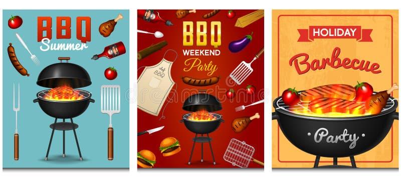 Grillen Sie den Grillelementsatz, der auf rotem Hintergrund lokalisiert wird Bbq-Partei-Plakat Junge Erwachsene Fleischrestaurant stock abbildung