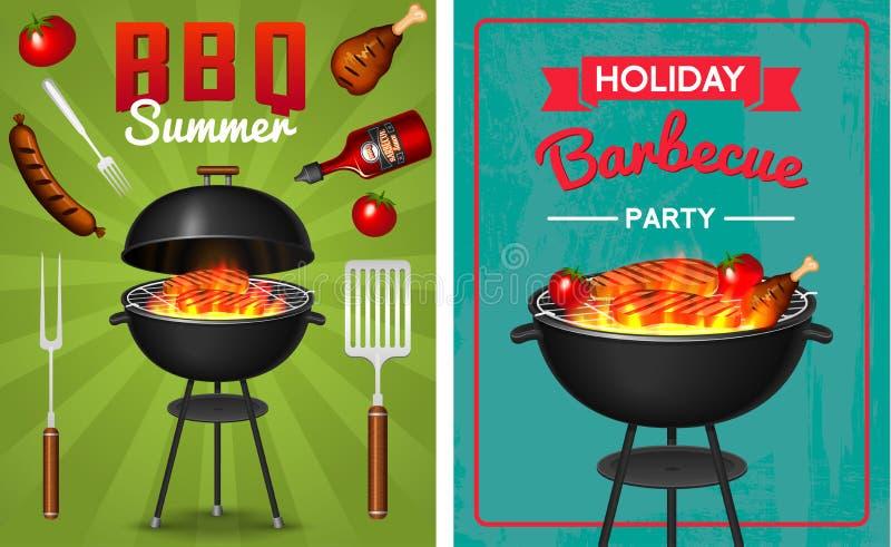 Grillen Sie den Grillelementsatz, der auf rotem Hintergrund lokalisiert wird Bbq-Partei-Plakat Junge Erwachsene Fleischrestaurant vektor abbildung