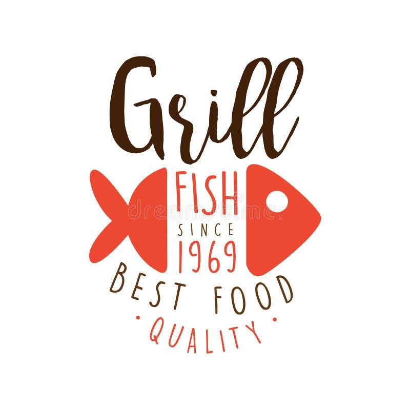 Grillen Sie der Logoschablone der Fische seit 1969 gezeichnete bunte Illustration Vektor Hand stock abbildung