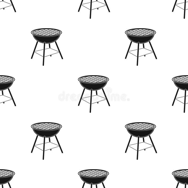 Grillen Sie die Grillikone in der schwarzen Art lokalisiert auf weißem Hintergrund Picknicksymbolvorrat-Vektorillustration vektor abbildung