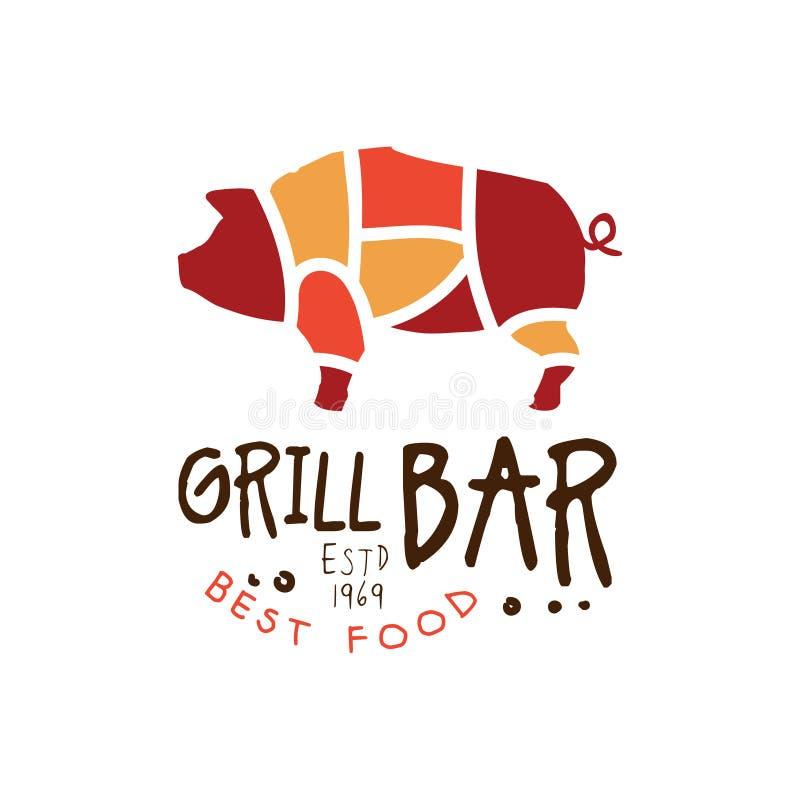 Grillen Sie estd Lebensmittel der Bar beste gezeichnete bunte Illustration 1969 Vektor der Logoschablone Hand stock abbildung