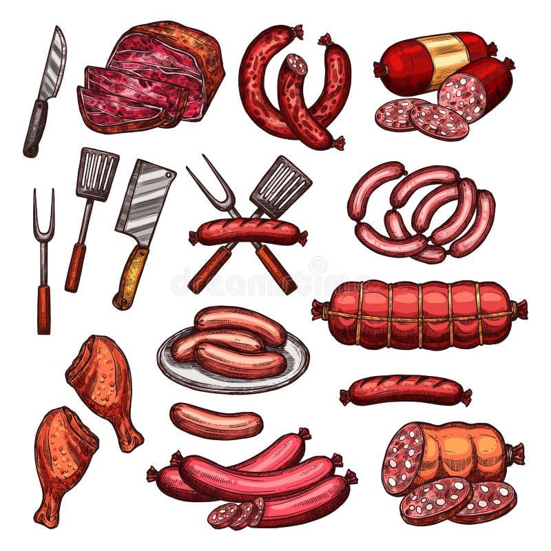 Grillen Sie Fleisch- und Wurstskizze für Grilldesign lizenzfreie abbildung