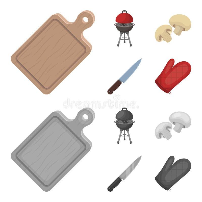 Grillen Sie Grill, Champignons, Messer, Grillhandschuh Gesetzte Sammlungsikonen BBQ in der Karikatur, einfarbiges Artvektorsymbol lizenzfreie abbildung