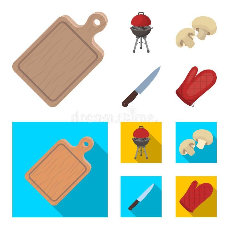 Grillen Sie Grill, Champignons, Messer, Grillhandschuh Gesetzte Sammlungsikonen BBQ in der Karikatur, flacher Artvektor-Symbolvor vektor abbildung