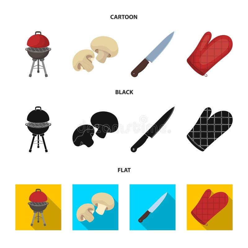 Grillen Sie Grill, Champignons, Messer, Grillhandschuh Gesetzte Sammlungsikonen BBQ in der Karikatur, Schwarzes, flaches Artvekto stock abbildung