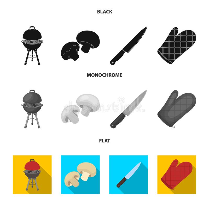 Grillen Sie Grill, Champignons, Messer, Grillhandschuh Gesetzte Sammlungsikonen BBQ im schwarzen, flachen, einfarbigen Artvektor stock abbildung