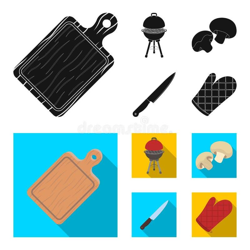 Grillen Sie Grill, Champignons, Messer, Grillhandschuh Gesetzte Sammlungsikonen BBQ schwarzes, flaches Artvektorsymbolauf lager stock abbildung