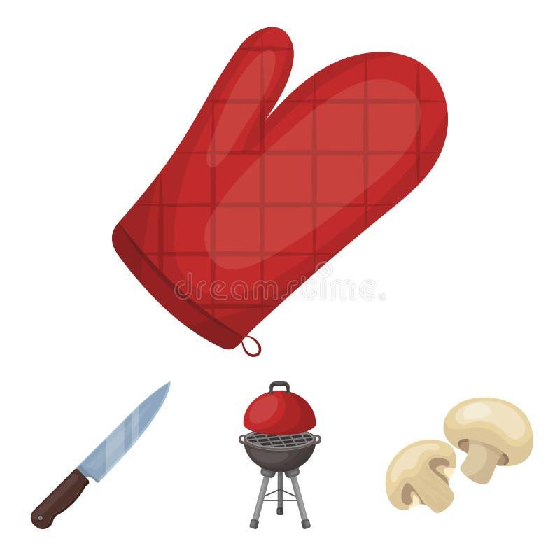 Grillen Sie Grill, Champignons, Messer, Grillhandschuh Vector gesetzte Sammlungsikonen BBQ in der Karikaturart Symbolvorrat vektor abbildung