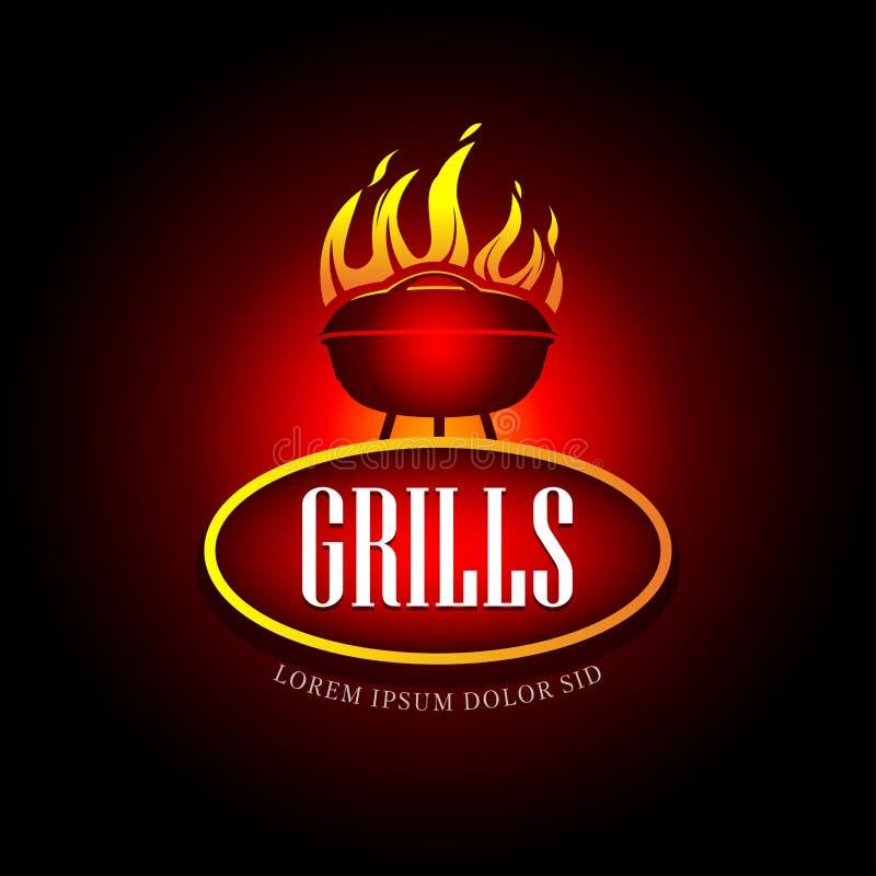 Grillen Sie Grill-Gestaltungselement für Firmenzeichen, Aufkleber, Ausweis und anderen Design Feuerflammen-Vektorillustration vektor abbildung