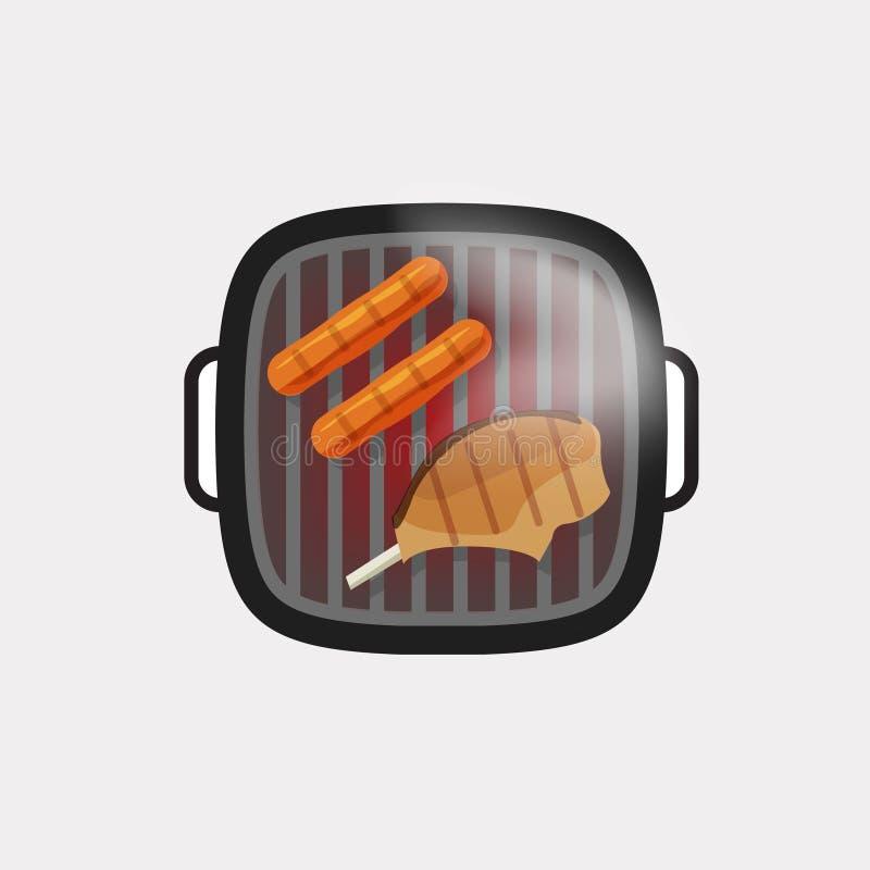 Grillen Sie Grillvektorikone, bbq gegrilltes Fleischsteak, heiße Würste lizenzfreie abbildung