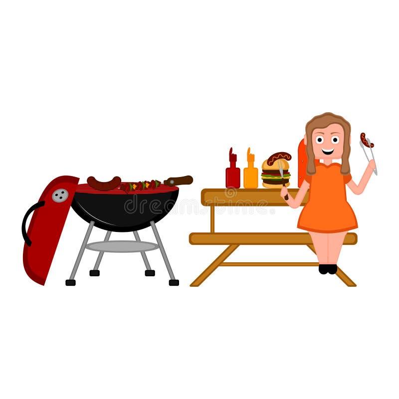 Grillen Sie Picknick und ein Mädchen, das eine Wurst isst lizenzfreie abbildung