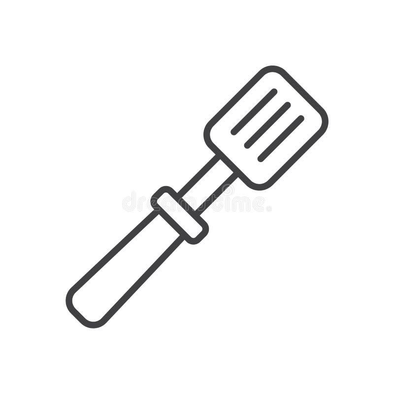 Grillen Sie Spachtellinie Ikone, Entwurfsvektorzeichen, das lineare Artpiktogramm, das auf Weiß lokalisiert wird vektor abbildung