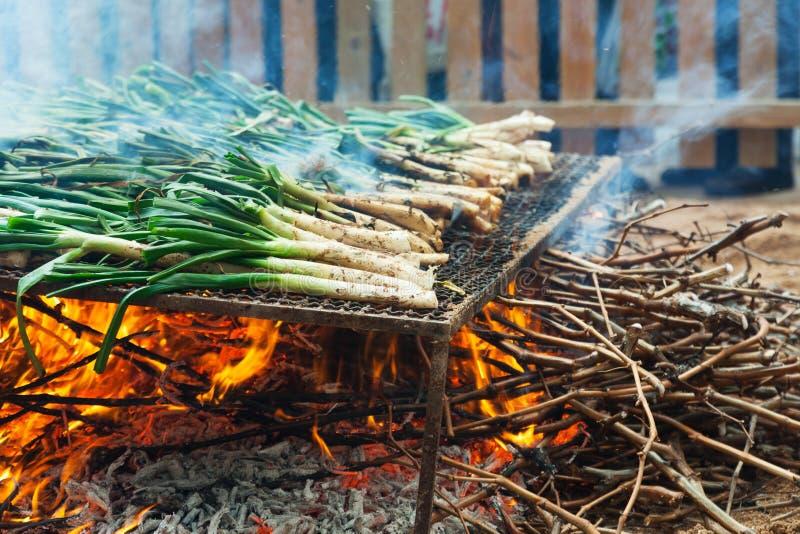 Grillen von calsot während Calcotada lizenzfreie stockfotografie