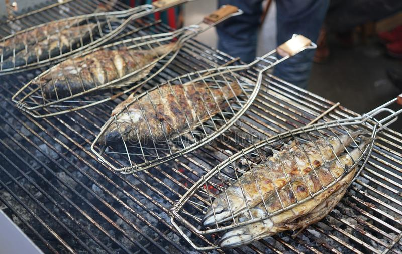 Griller des poissons sur un barbecue photos libres de droits