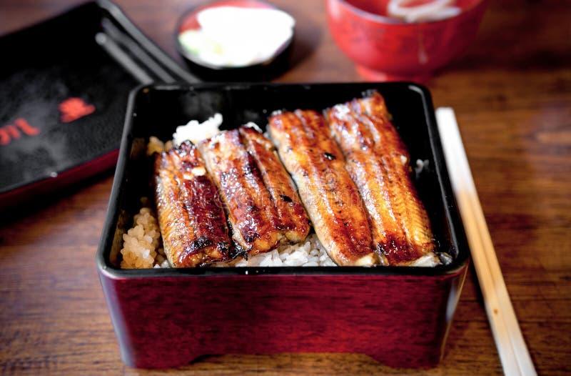 Griller l'anguille d'Unagi pour la recette de riz de donburi d'Unagi de Japonais photo libre de droits
