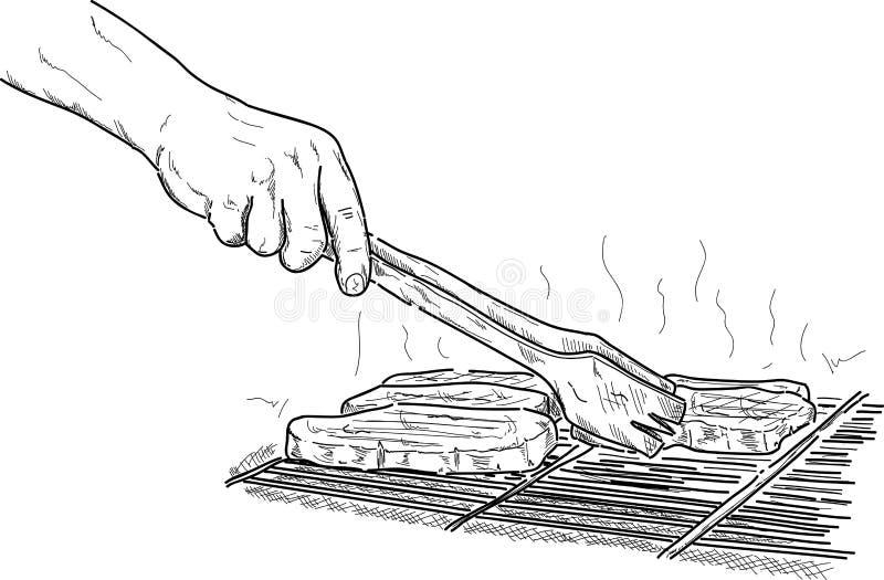 Griller un bifteck illustration libre de droits