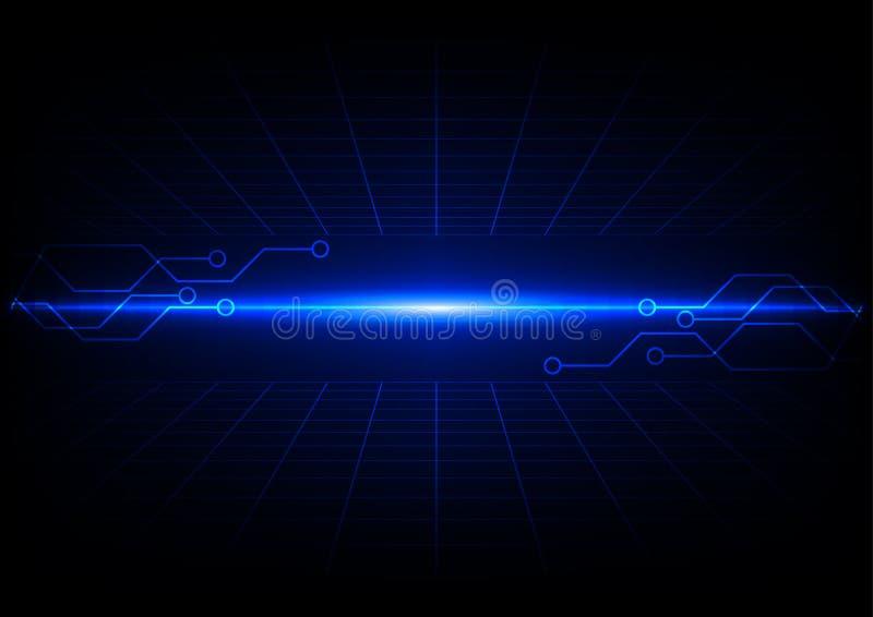 Grilles bleues abstraites avec la conception de l'avant-projet de technologie de circuit illustration de vecteur